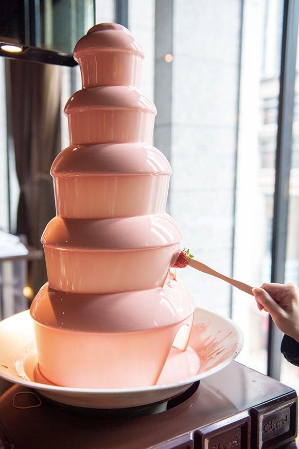 【写真を見る】とろけるストロベリーチョコレートにいちごやお菓子をディップして
