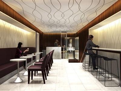 2階のカフェはシンプルでオシャレな雰囲気!