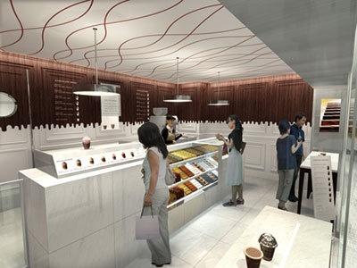 1階はショップ。ショコイスト、アイスクリーム、ビスキュイ、季節商品を販売。ギフトラインと違う品ぞろえだ
