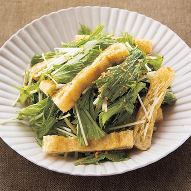 ごまのこうばしい香りで食欲増進!「水菜と油揚げのサラダ」