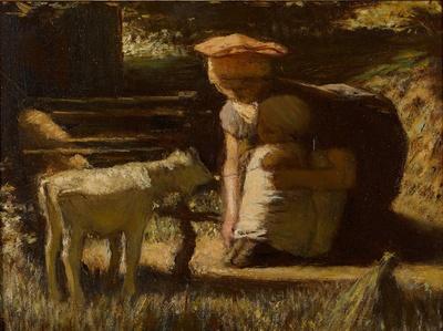 マテイス・マリス《出会い(仔ヤギ)》 1865-66年頃 油彩・板 14.8×19.7cm ハーグ美術館