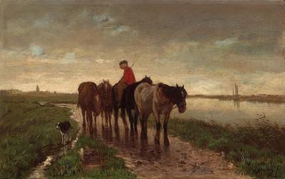 アントン・ マウフェ《4頭の曳き馬》 制作年不詳 油彩・板 19.5 × 32cm ハーグ美術館