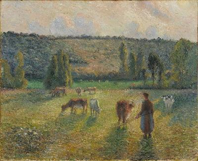 カミーユ・ピサロ《エラニーの牛を追う娘》 1884 年 油彩・カンヴァス 59.7×73.3cm 埼玉県立近代美術館
