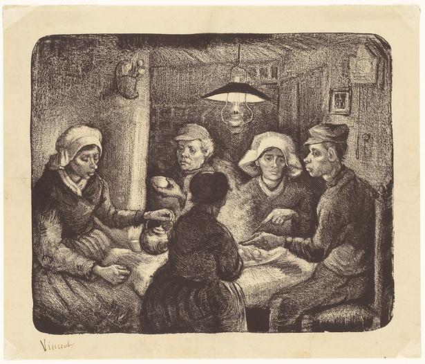 フィンセント・ファン・ゴッホ《ジャガイモを食べる人々》 1885年4-5 月 リトグラフ(インク・紙) 26.4×32.1cm  ハーグ美術館