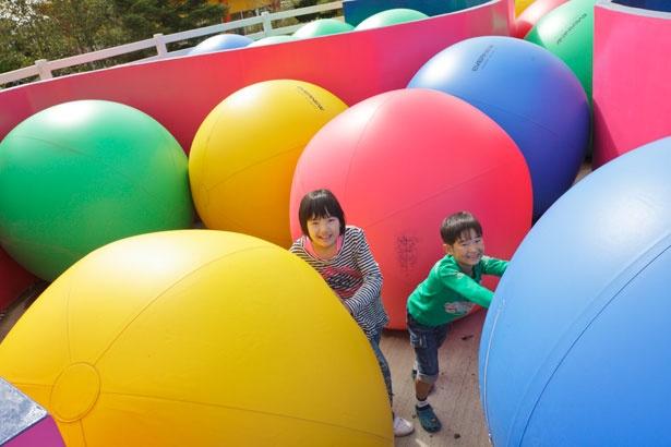 「ピカソのタマゴ」のアスレチックの1つ「スラストボム」。ボールを動かして、隠されたゴールを探そう