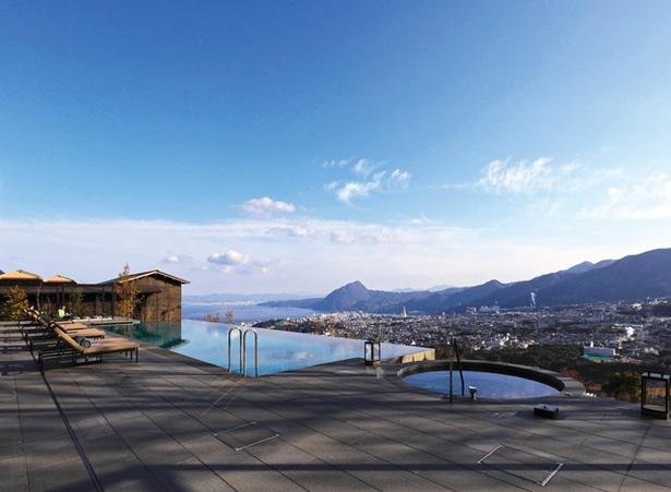 【写真を見る】ANAインターコンチネンタル 別府リゾート&スパ / 別府市街を見下ろせるインフィニティプール