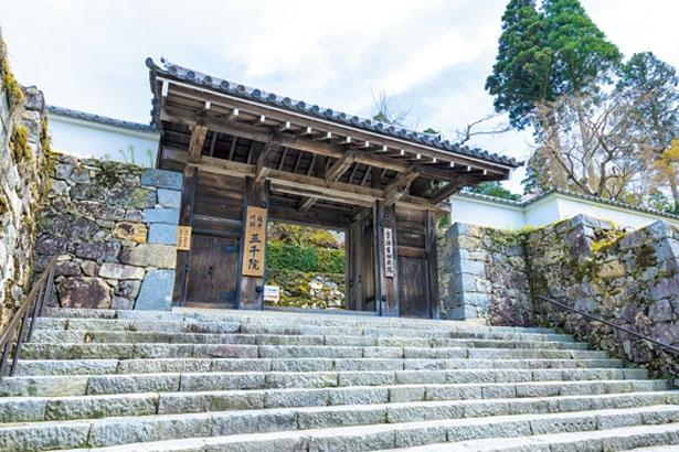 自然石を積んだ石垣に囲まれた三千院の玄関口の「御殿門」。城門を思わせる堅牢な風格を漂わせている/三千院