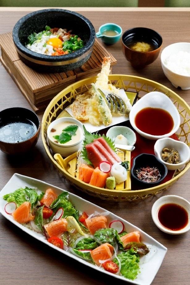 お刺身と天婦羅の花籠膳(1,380円)など、日本海の漁場から毎日直送される鮮魚を使った料理がウリだ