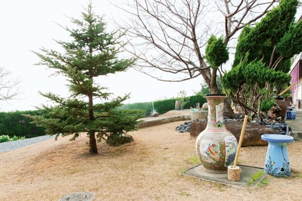 海が見える庭園では大小の水琴窟の音色を聞くことができる。足湯水琴窟(税込350円、タオル付き)も/桃井ミュージアム