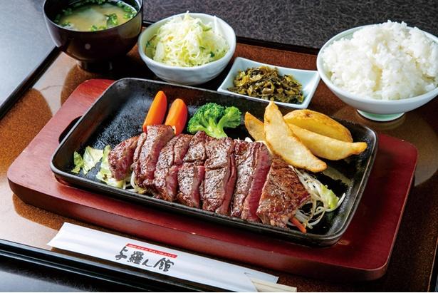 焼肉レストラン 与羅ん館 / 国産牛のサーロインがメインの「ステーキ定食」(1800円・税込)