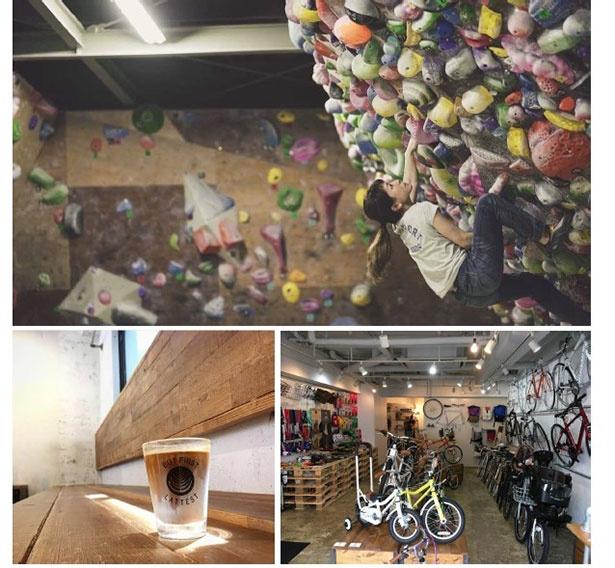 ボルダリングジムを中心にカフェやサイクルショップ等を併設。幅広い世代が楽しめるスポーツ複合施設(イメージ)