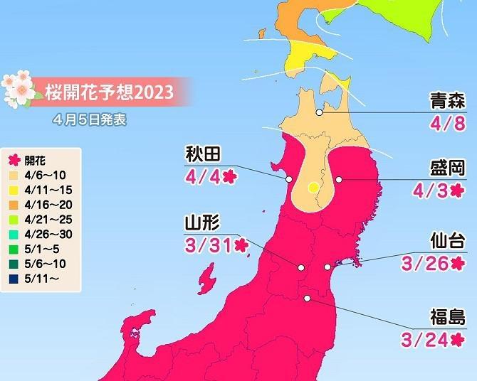 2020年の桜開花・満開予想(北海道・東北編) 東北は3月26日に福島で開花スタート