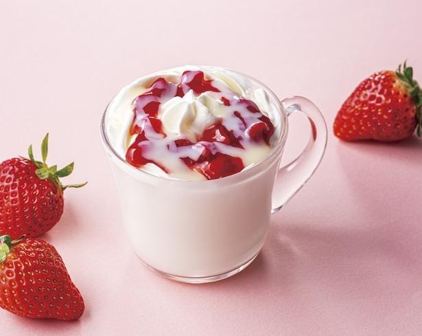 【写真】ミルキーな練乳×フレッシュいちごソースで作る、濃厚ないちごミルク