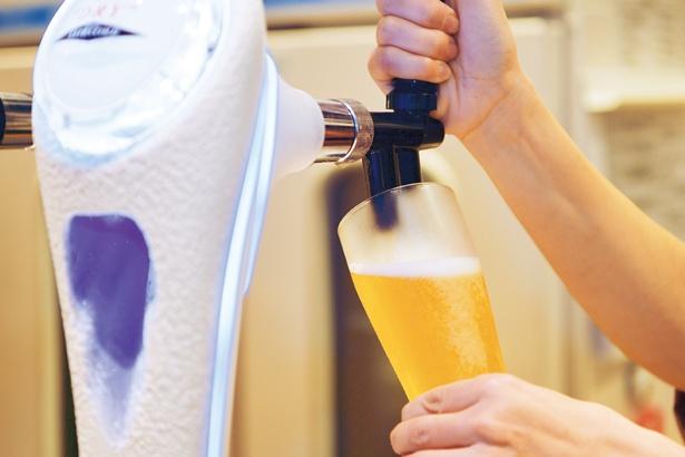 風呂上がりには氷点下に冷えた生ビール(500円)を/尼崎センタープール前 みずきの湯
