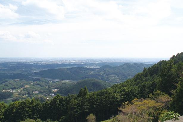 昼にも浜松市全体を見渡せるほどの絶景を楽しめる。展望台の周りには巨大な風力発電の風車が立ち、その迫力のある姿も見える / 滝沢展望台