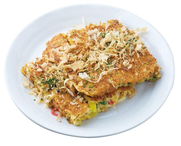 「お好み焼き」(大盛 税込 550円)は、これぞソウルフードと呼ぶべき、素朴な味 / かどや 天竜川店