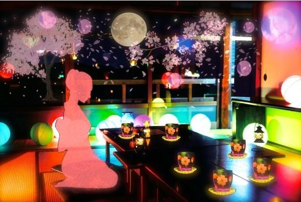 限定メニューの幻桜茶を楽しめる喫茶室