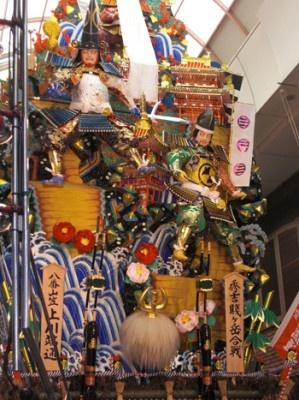 上川端通にある飾り山 見送り「秀吉賤ヶ岳合戦」
