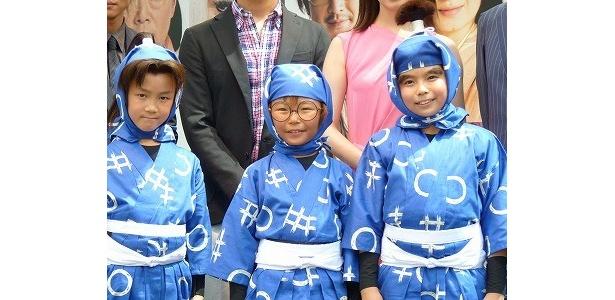 『忍たま乱太郎』出演の左から、林遼成、加藤清史郎、木村風太