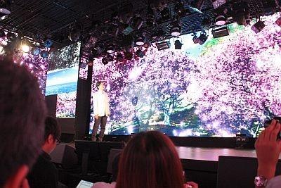 LEDモニターを駆使し、桜を全ての壁面に映し出した