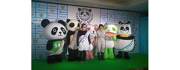 """【写真】""""うえのパンダくん""""""""サイパンだ!""""""""さくらパンダ""""""""生茶パンダ先生""""""""むきぱんだ""""の5体のパンダキャラクターが集結!"""