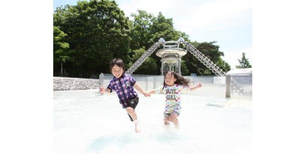 愛・地球博記念公園、こどものひろばにある水のエリア。水遊びのほか、木製遊具やチューブスライダー(小学生のみ利用可)もある