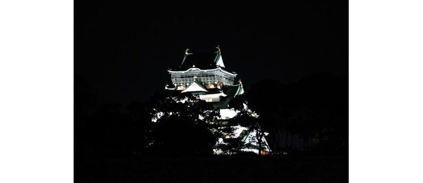 夜の大阪城ライトアップがきれいと評判だった