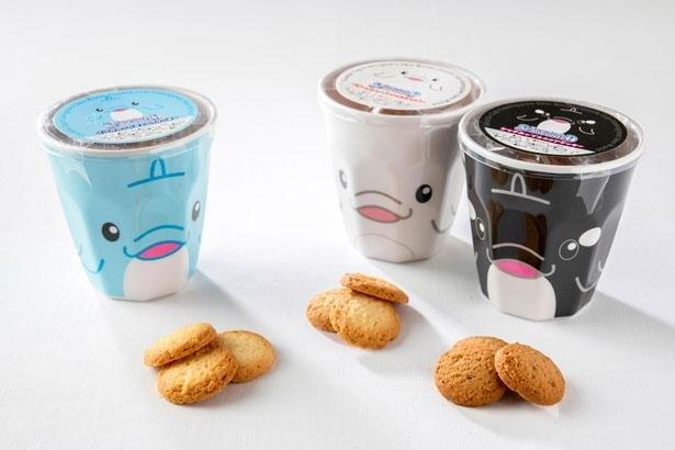 子供たちに人気の土産「クッキーカップ」(各税込770円)は、イルカ、ベルーガ、シャチの3種類