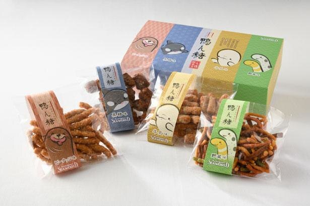 4種類のかりんとうがセットに!パッケージのイラストもかわいい「鴨ん糖」(税込1980円)
