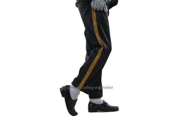編み込んだ金スパンコールラインの黒パンツ