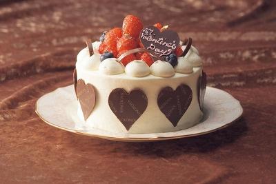 真っ白い生クリームケーキ「バレンタインイチゴホワイト(直径14cm)」3150(きのとや)