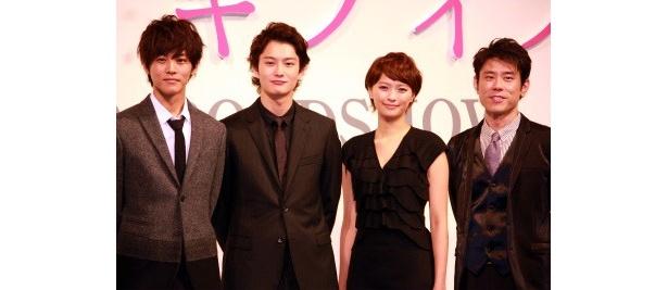 左から、松坂桃李、岡田将生、榮倉奈々、原田泰造