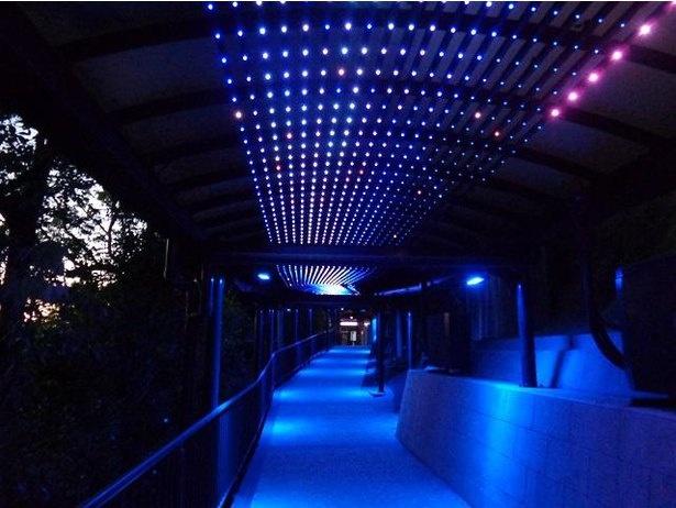稲佐岳駅から展望台へ続く「光のトンネル」