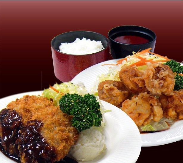 「ヒレカツ定食」(左・税込900円)、「からあげ定食」(右・税込800円)