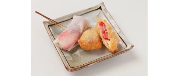 串はん「イチゴの包み揚げ」(400円)は珍しいイチゴの揚げ物が楽しめる