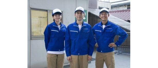 「アントキノイノチ プロローグ 天国への引越し屋」に出演する、左から、榮倉奈々、原田泰造、鶴見辰吾