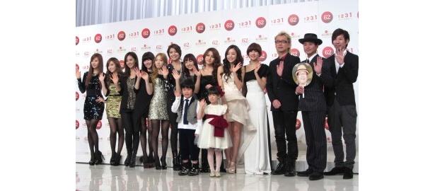 第62回 NHK紅白歌合戦に初出場する少女時代、神田沙也加、鈴木福、芦田愛菜、KARA、猪苗代湖ズ(左から)