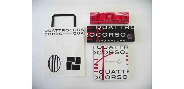 包装紙、ショッピングバッグ、ギフトボックス、贈答品金賞「クアトロコルソ」(ゴンチャロフ製菓)
