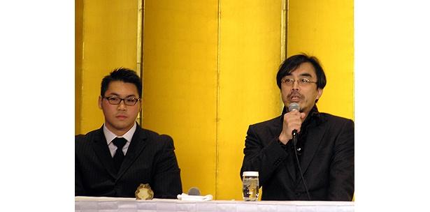K-1ファイター・澤屋敷純一(左)と、役所の友人でもある益岡徹