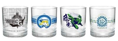 4種類のデザインからなるグラス(J賞)