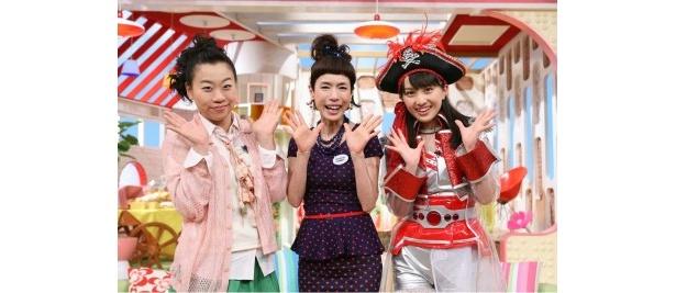 4月14日(土)より新体制となる「メレンゲの気持ち」のMCを務めるいとうあさこ、久本雅美、百田夏菜子(写真左から)
