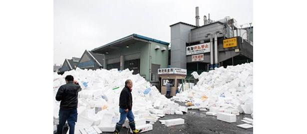発泡スチロールは築地市場内でリサイクル