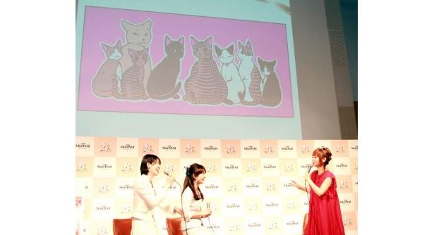 自身が飼っているネコのイラストを披露