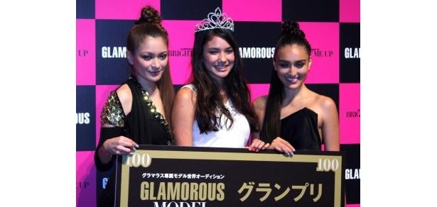 会見に出席した岩堀せり、オーディショングランプリのテイラースズキ、長谷川潤(写真左から)