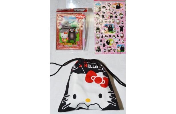 巾着(400円)、3Dフレームノート(00円)、ぷっくりシール(350円)