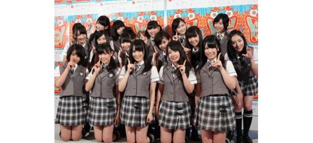 4thシングル「ナギイチ」の完成発表記者会見に出席したNMB48