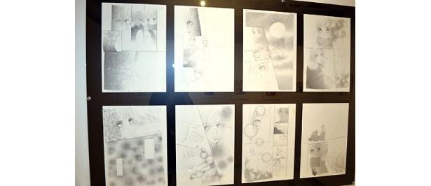 原画の他、下絵やネームも展示されている