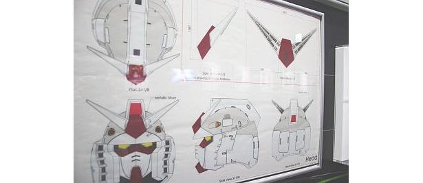 ガンダム立像の設計図も公開