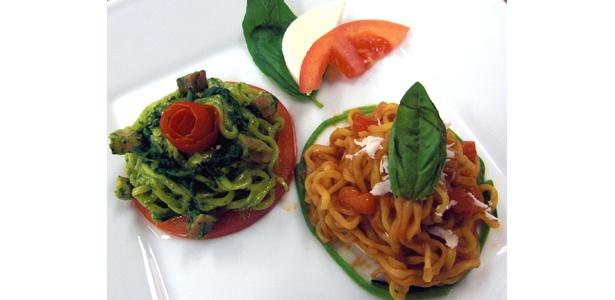 日本即席食品工業協会賞受賞の「栄養満点tricolor〜ほうれん草カルボナーラ・トマトソース〜」。作ったのはなんと高校2年生の女の子!