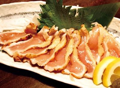 「八丁ぼり」の名古屋コーチン胸肉のたたき